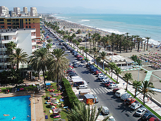 Paseo Maritimo, Torremolinos. Beach, The Mediterranean Sea. Chiringuitos (Beach bars/restaurants)