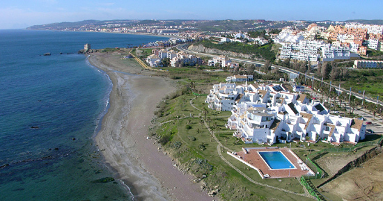 Casares Beach, tourist area with frontline beach properties