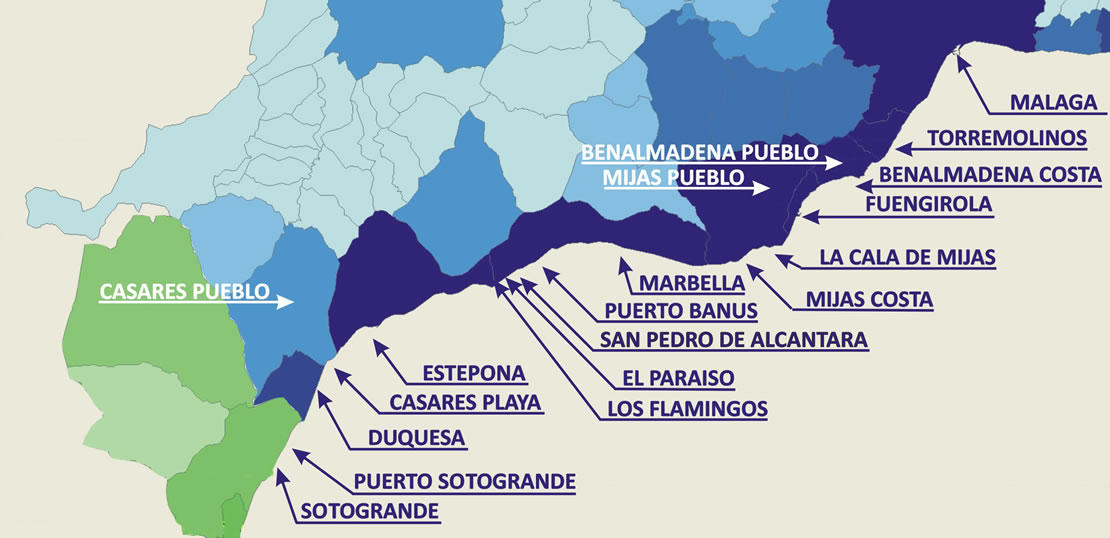 Map of Towns along the Costa del Sol, Spain